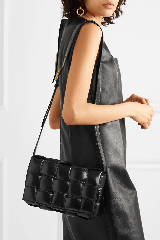 Bottega Veneta Cassette padded intrecciato glossed-leather shoulder bag