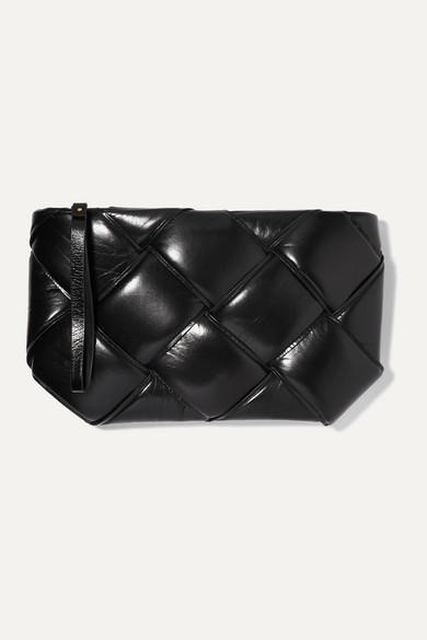Pouch Padded Intrecciato Textured Leather Clutch by Bottega Veneta