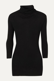 James Perse Ribbed cotton and cashmere-blend turtleneck top