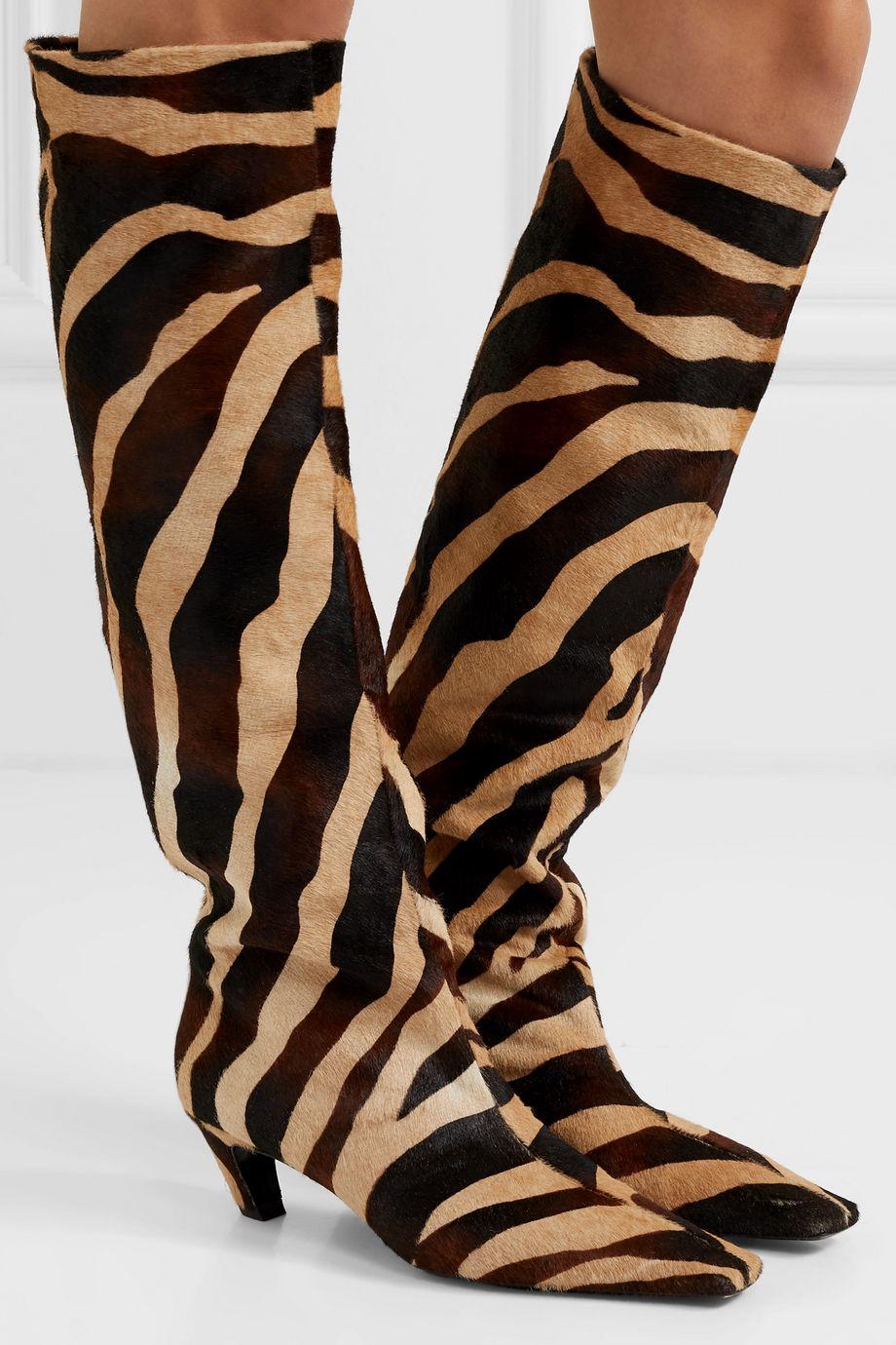 Khaite Zebra-print calf hair knee boots