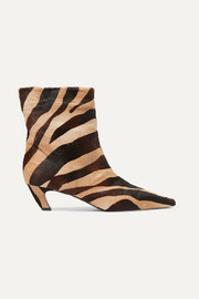 Zebra-print calf hair ankle boots