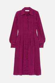 See By Chloé Pintucked silk crepe de chine dress