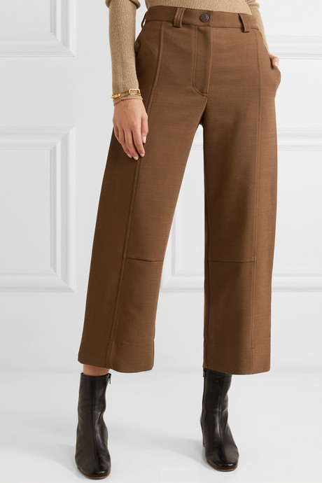 Cropped twill wide-leg pants