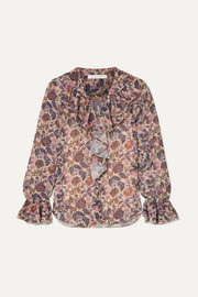 See By Chloé Shirred ruffled floral-print georgette blouse
