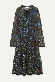See By Chloé Lace-trimmed flocked floral-print silk-chiffon midi dress