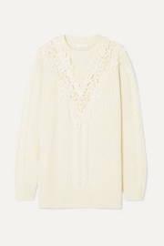 See By Chloé Guipure lace-trimmed cable-knit wool-blend sweater
