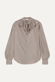 See By Chloé Ruffled houndstooth crepe blouse
