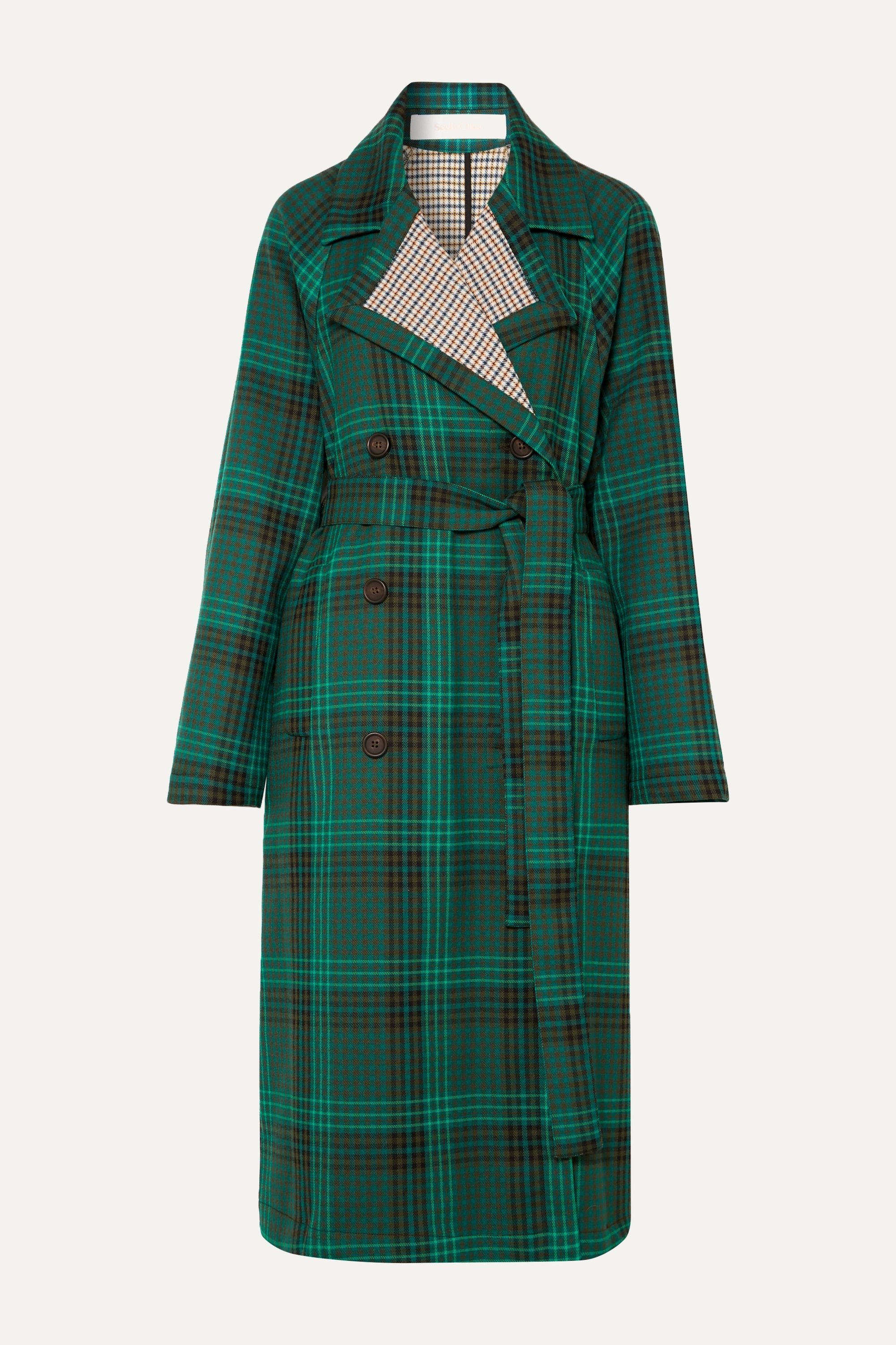 See By Chloé Belted double-breasted checked twill coat