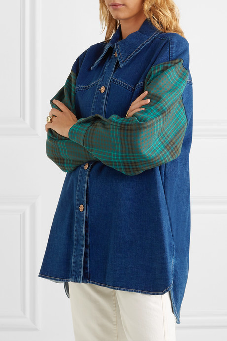 Oversized denim and checked twill shirt