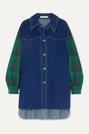 See By Chloé Oversized denim and checked twill shirt