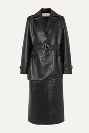 Belted layered faux leather trench coat