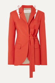 Cutout belted wool-blend blazer
