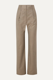 Pleated pinstriped wool-blend straight-leg pants