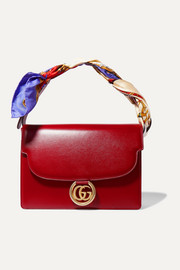 Gucci GG Ring large printed silk twill-trimmed leather shoulder bag