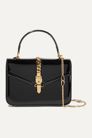 Sylvie 1969 mini chain-embellished patent-leather tote