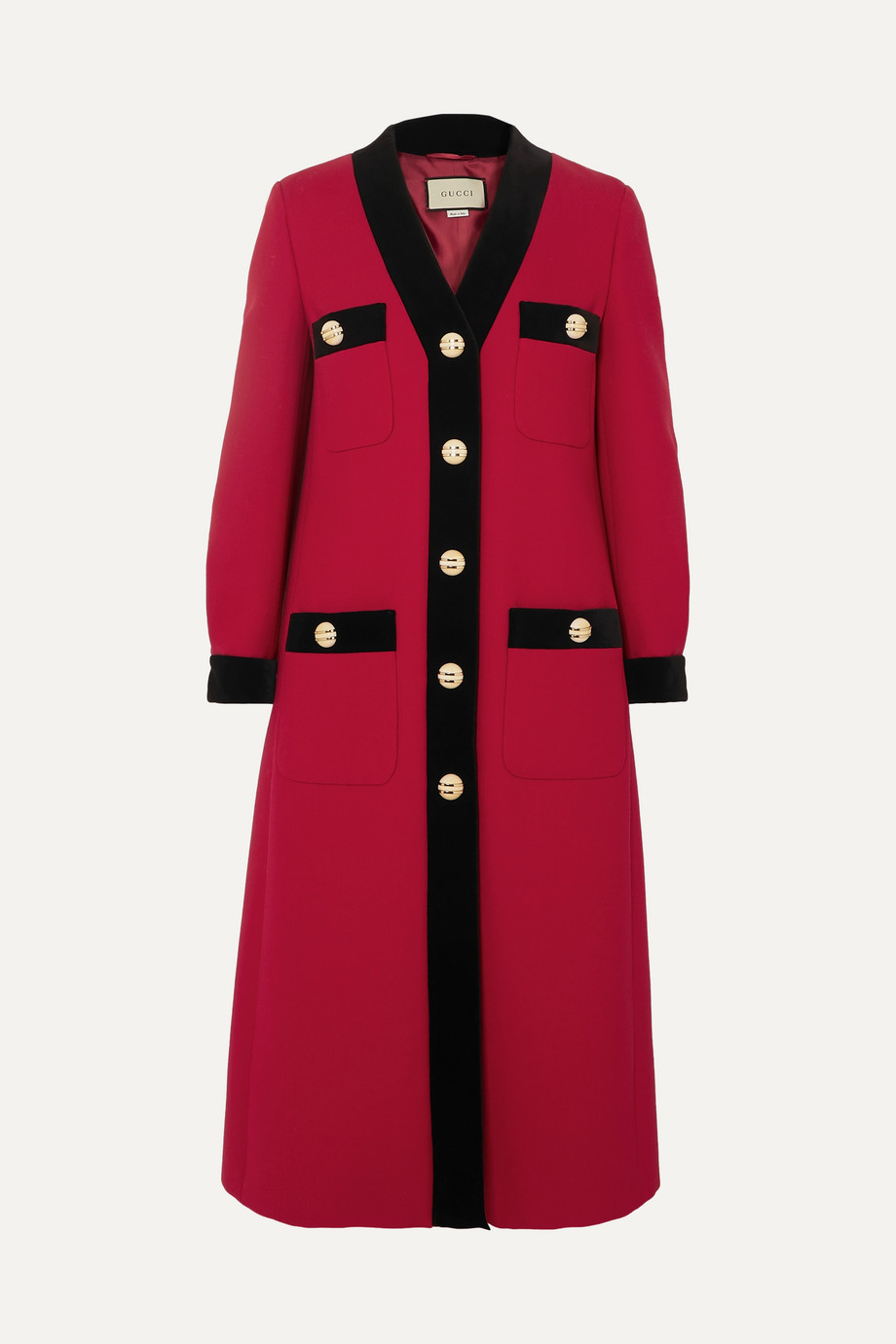 Gucci Velvet-trimmed wool-crepe coat