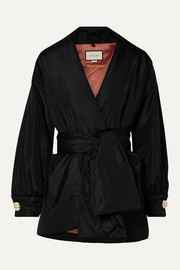 Gucci Button-embellished padded silk-taffeta jacket