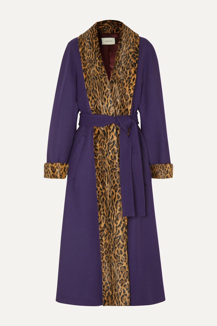 Gucci Leopard-print faux fur-trimmed wool-blend coat