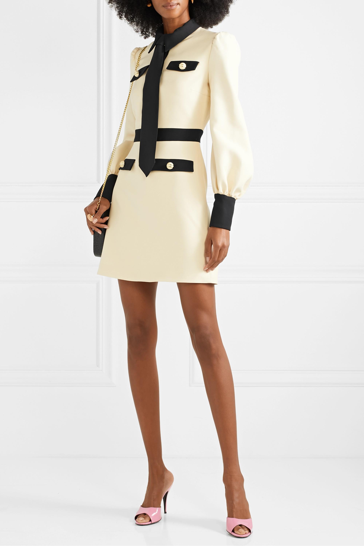 Gucci Two-tone wool and silk-blend cady mini dress