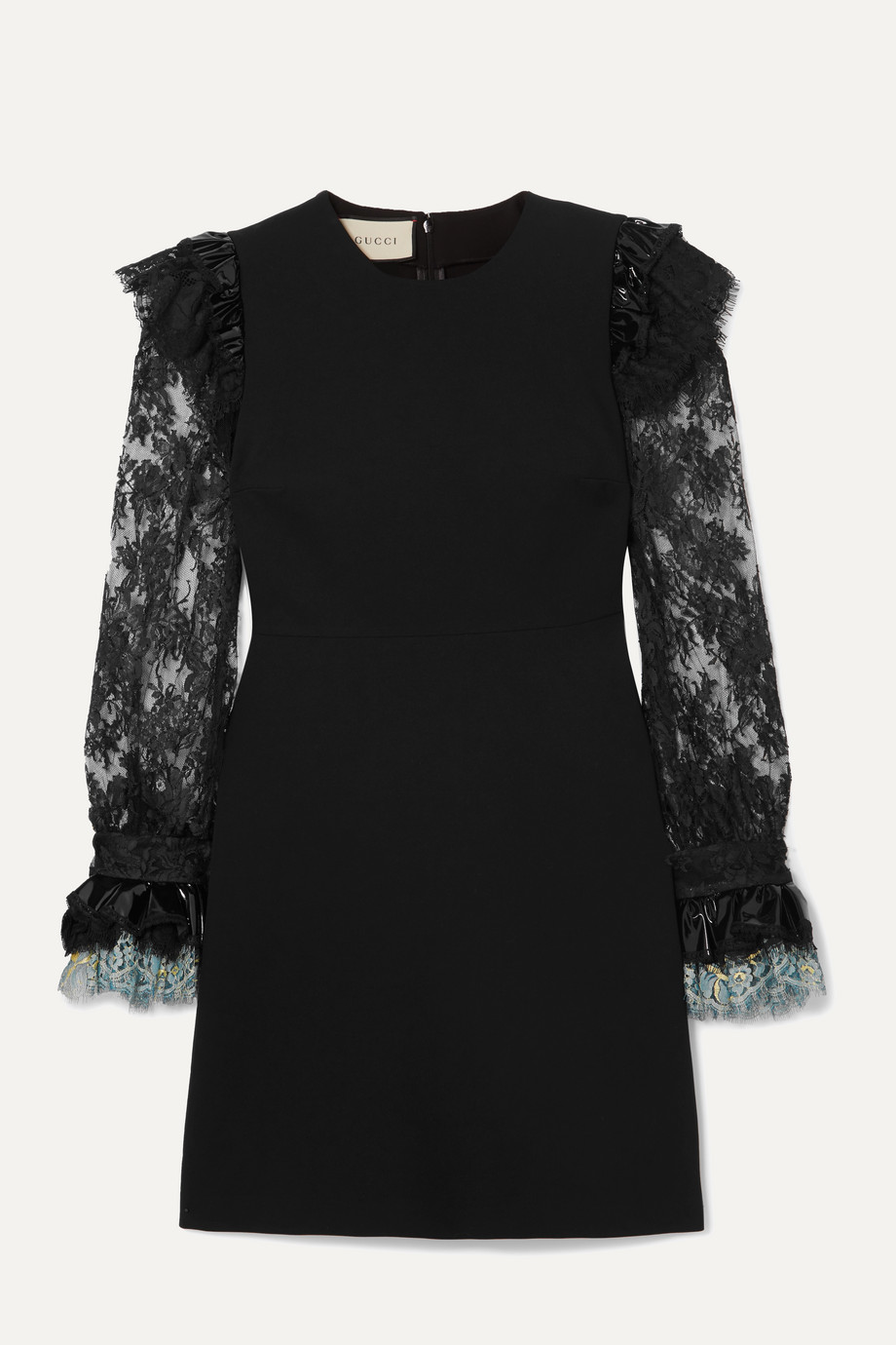 Gucci Vinyl and lace-trimmed cady mini dress