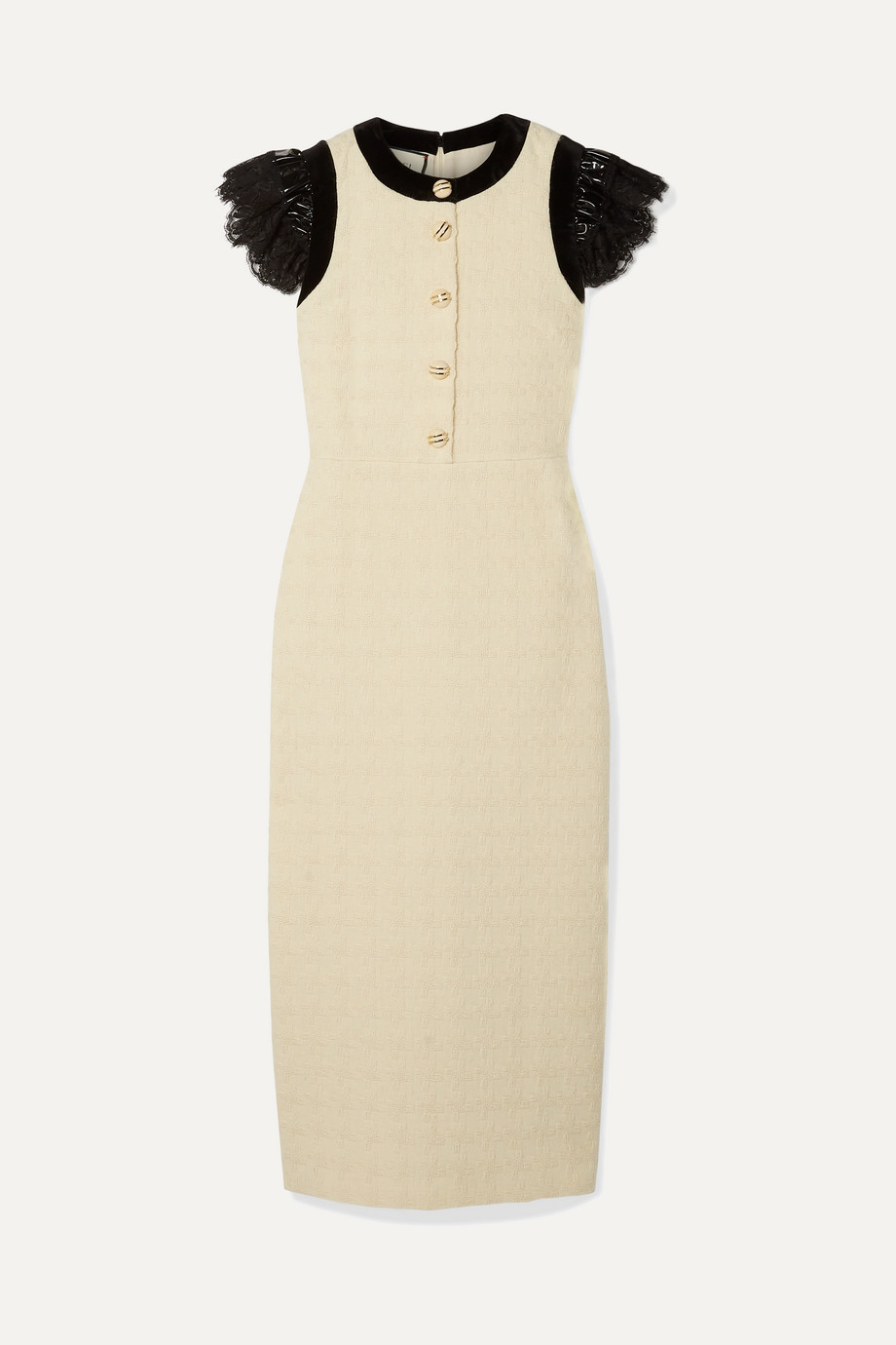 Gucci Velvet, vinyl and lace-trimmed wool-blend jacquard midi dress