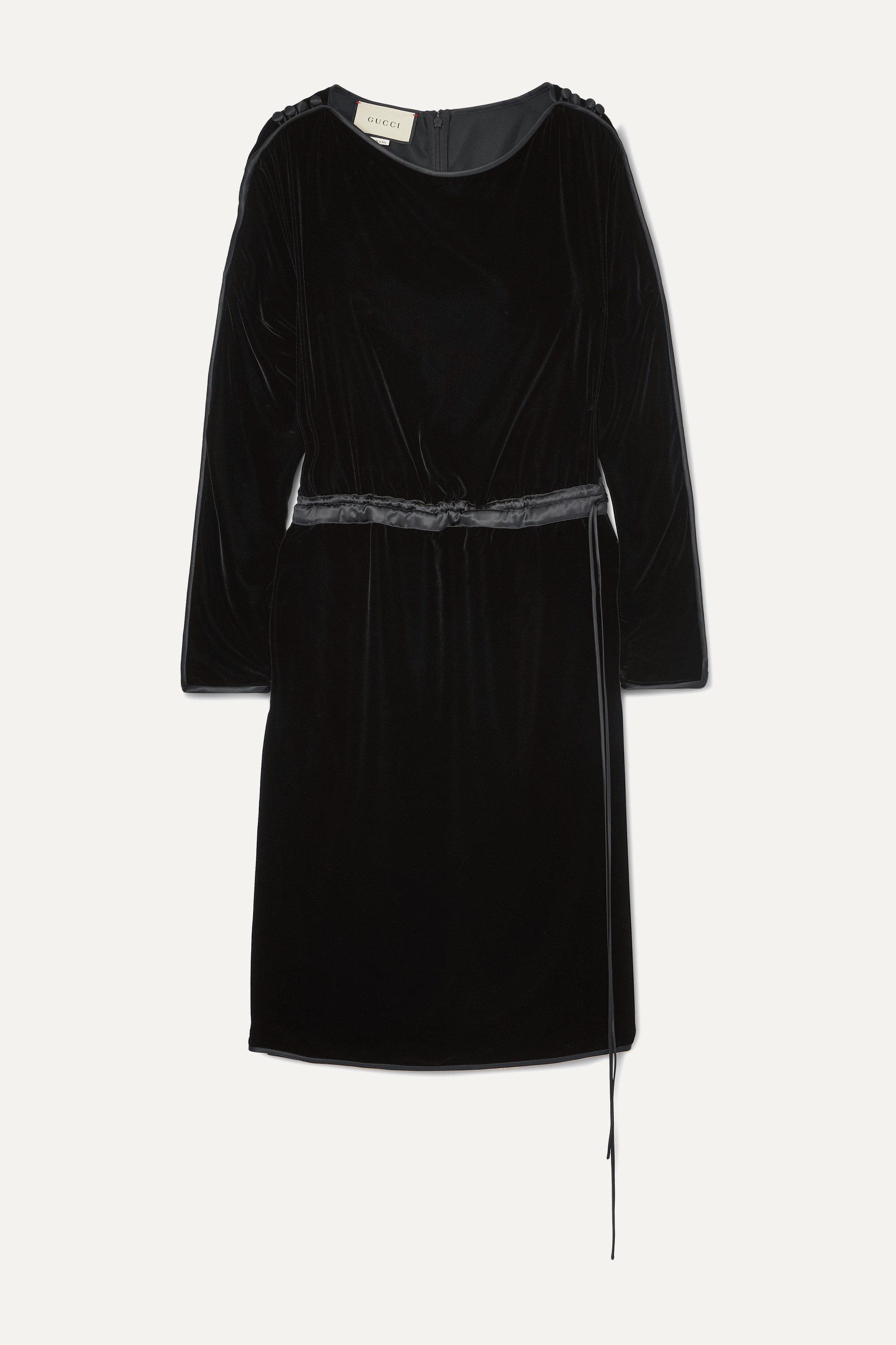 Gucci Satin-trimmed velvet midi dress