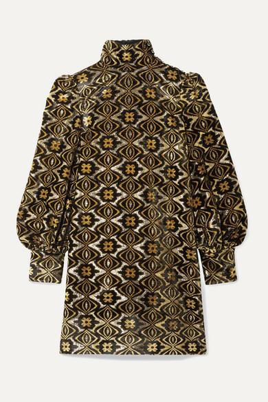 Metallic Chenille Jacquard Turtleneck Mini Dress by Gucci