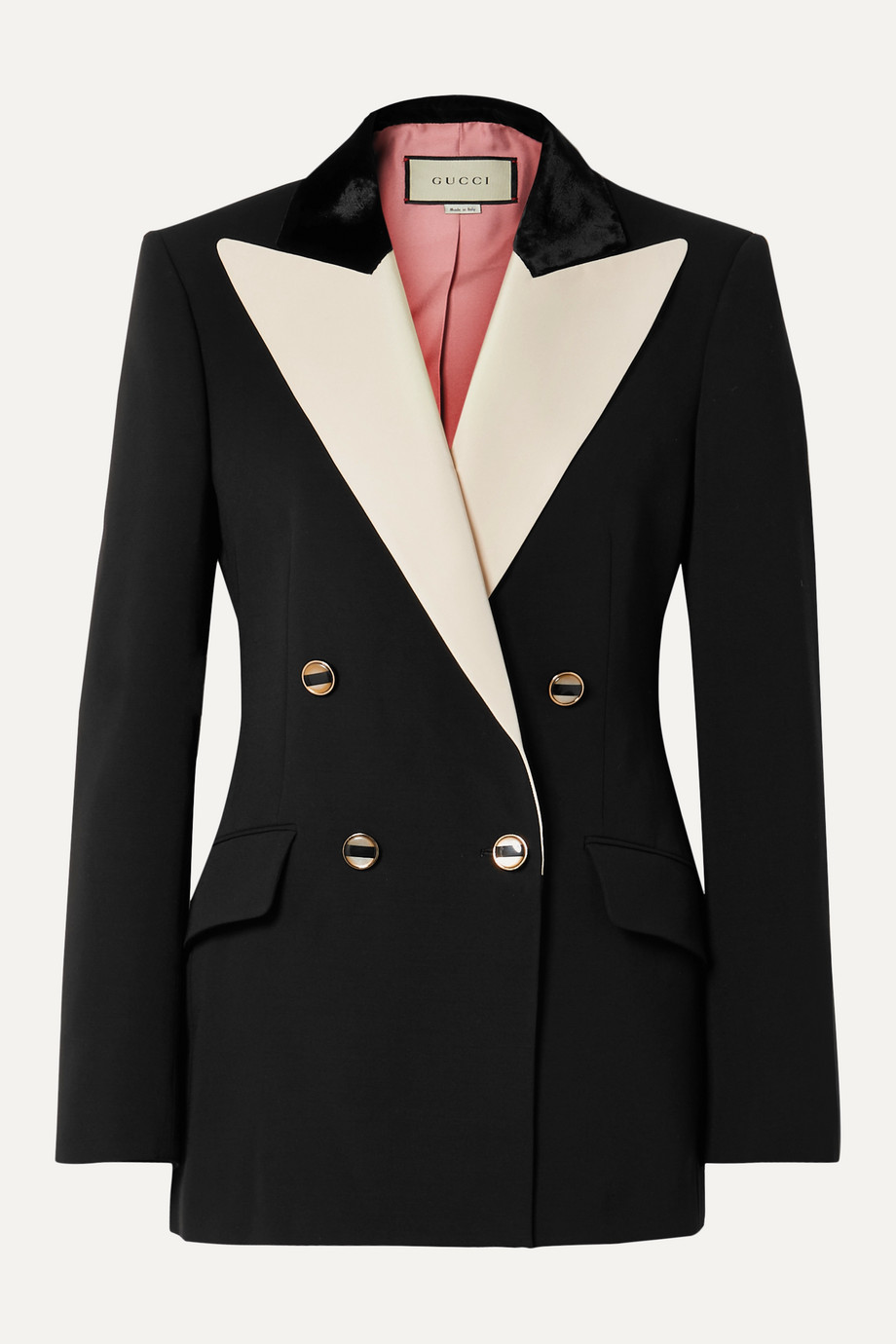 Gucci Double-breasted velvet and satin twill-trimmed silk and wool-blend blazer