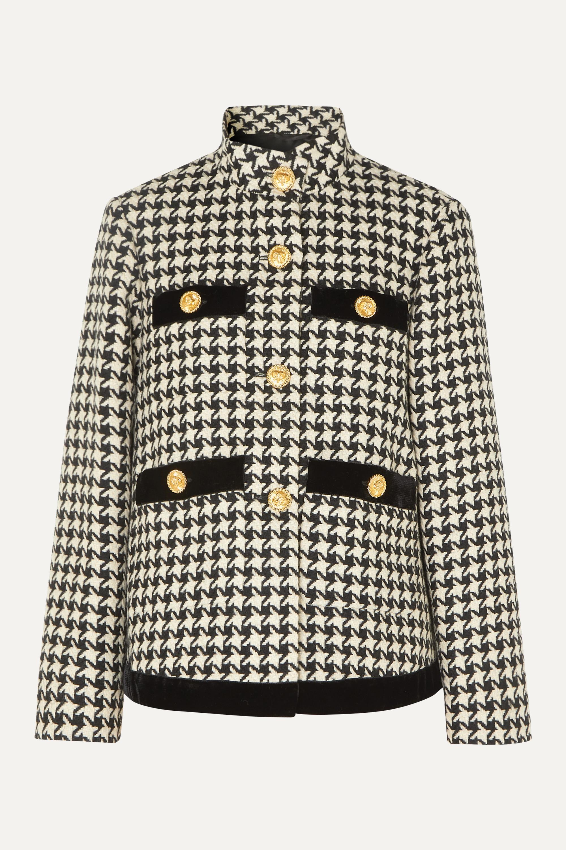Gucci Oversized velvet-trimmed houndstooth wool-blend jacket