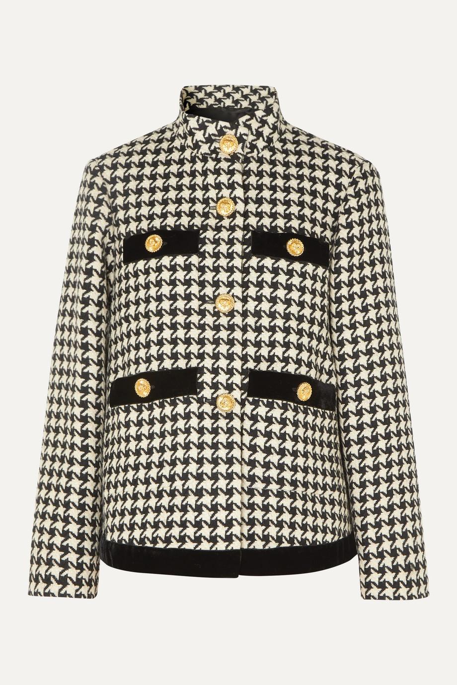 Gucci Veste oversize en laine mélangée pied-de-poule à finitions en velours