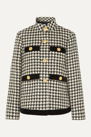 Gucci Oversized velvet-trimmed houndstooth wool-blend jacket