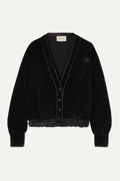 Gucci Knits Satin-trimmed embroidered cotton-blend velvet cardigan