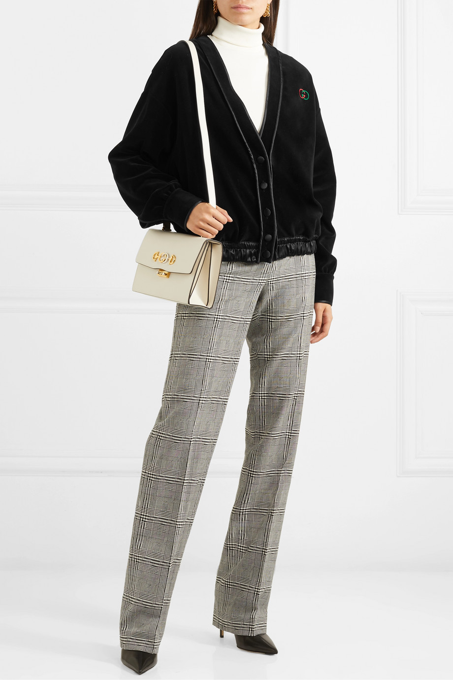 Gucci Satin-trimmed embroidered cotton-blend velvet cardigan
