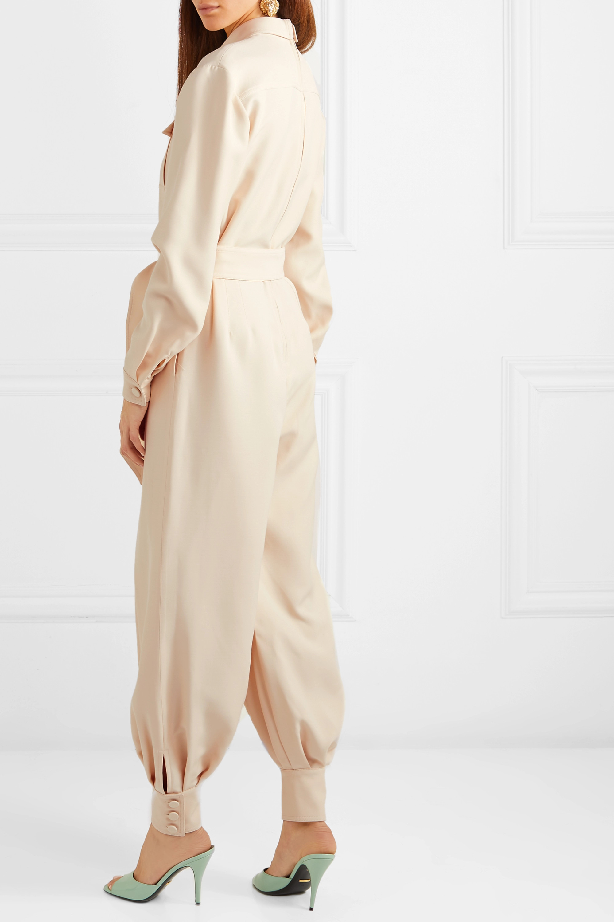 Gucci Belted wool and silk-blend cady jumpsuit