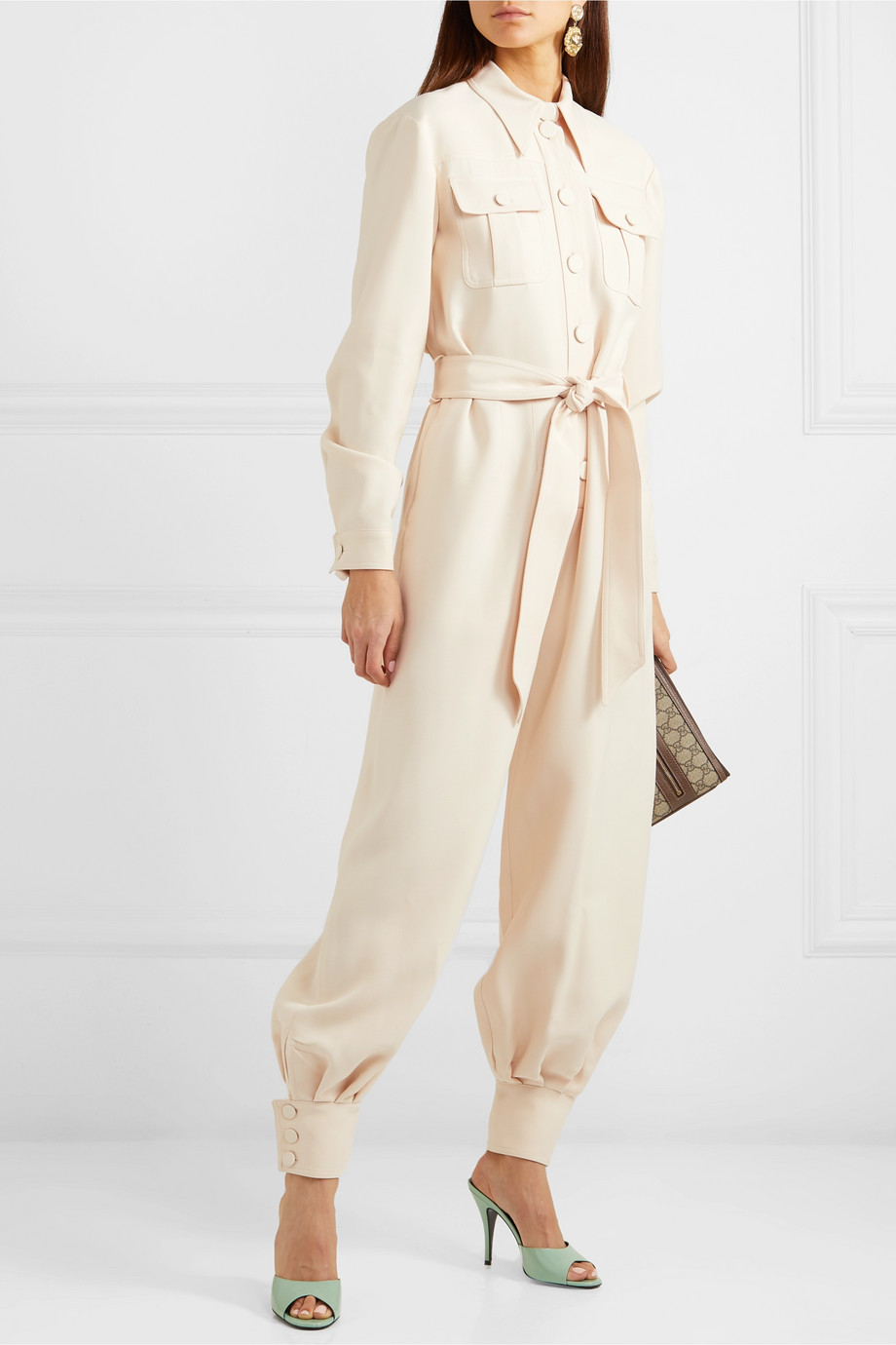 Gucci Combi-pantalon en cady de laine et soie mélangées à ceinture