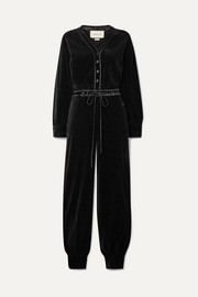 Satin-trimmed cotton-blend velvet jumpsuit