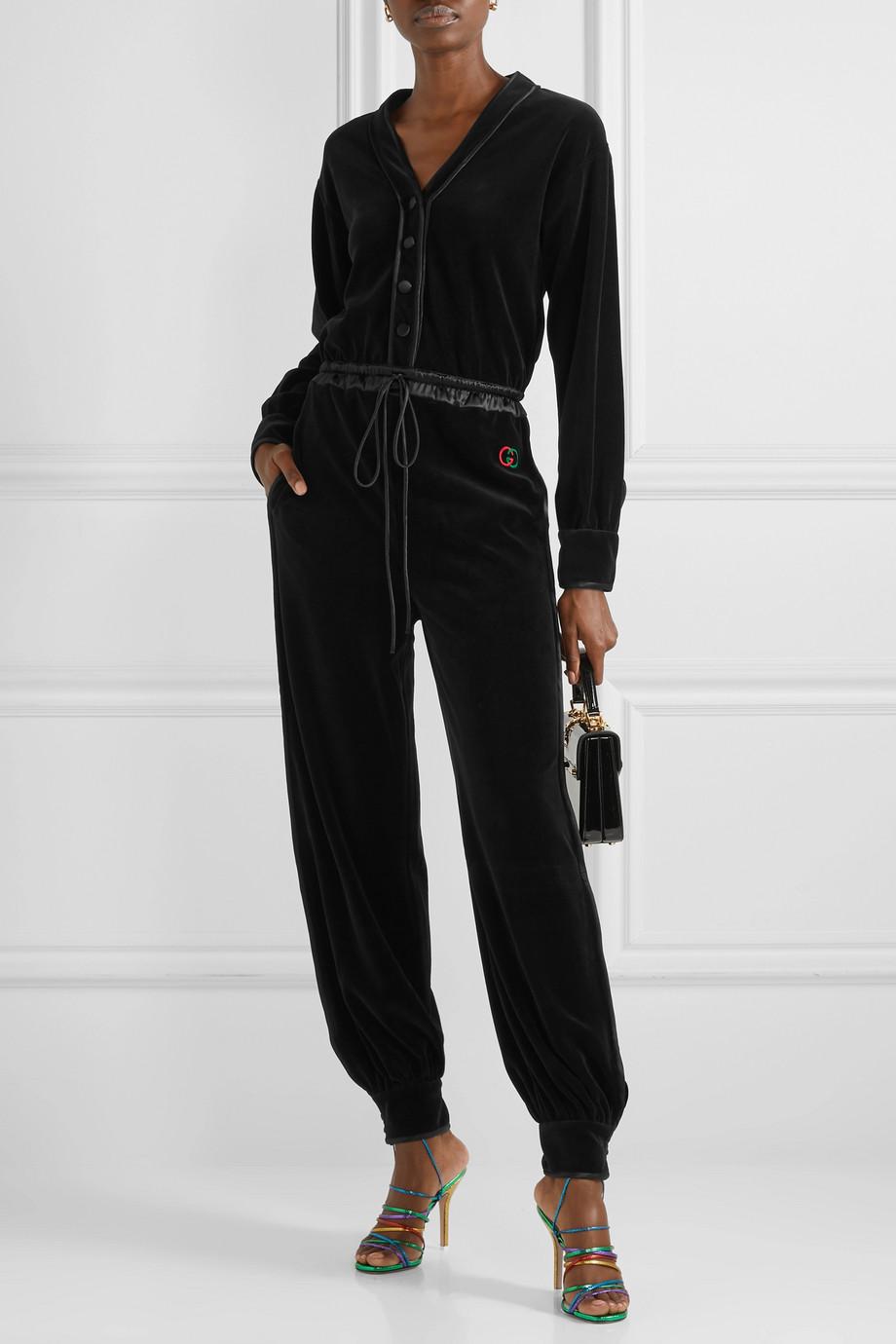 Gucci Satin-trimmed cotton-blend velvet jumpsuit