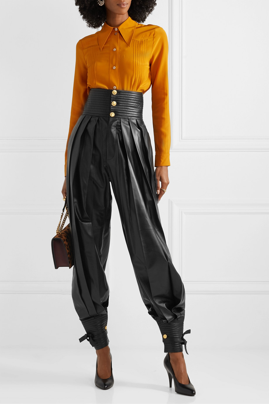 Gucci Pleated leather tapered pants