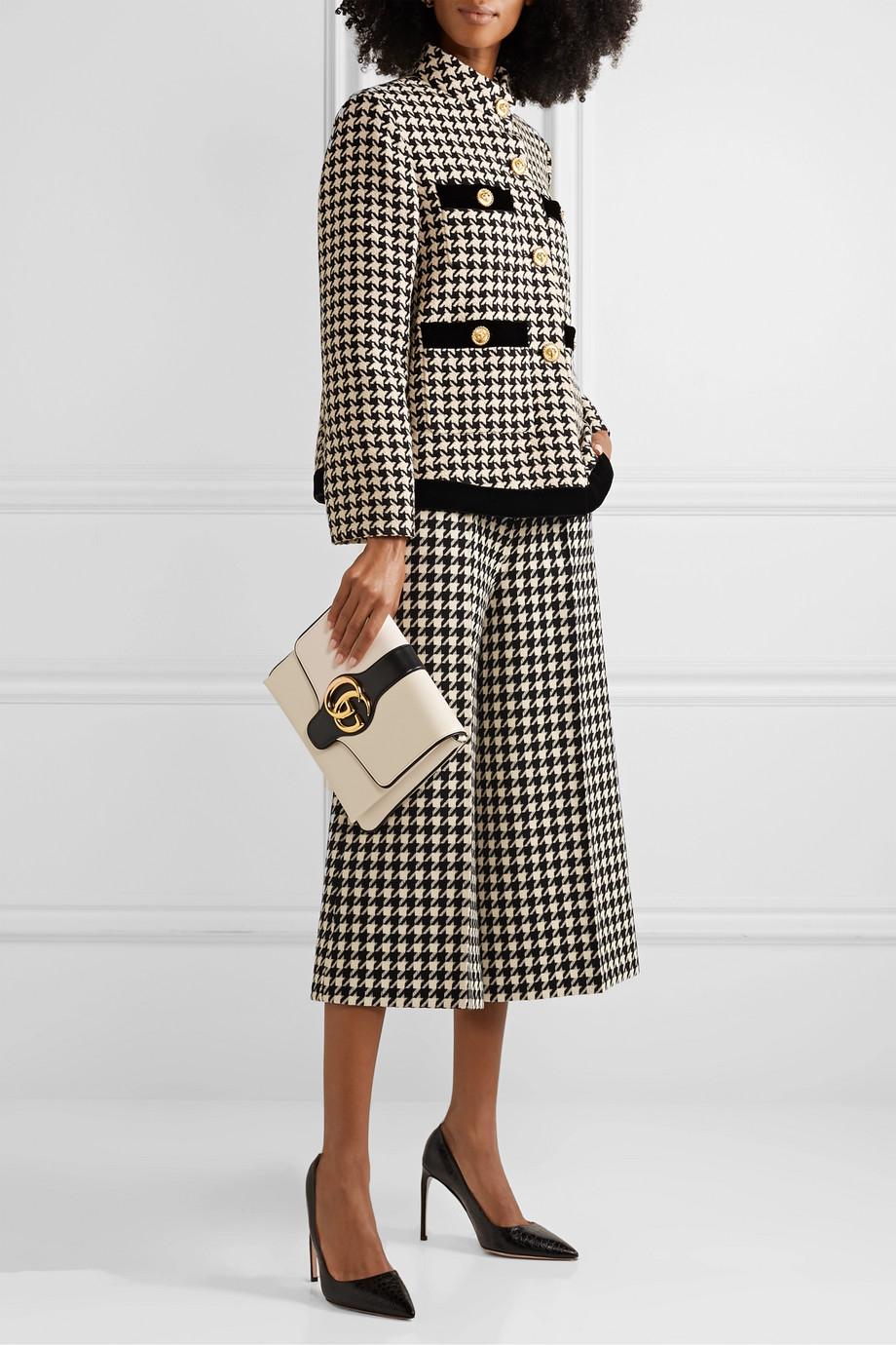 Gucci 千鸟格羊毛棉质混纺裙裤