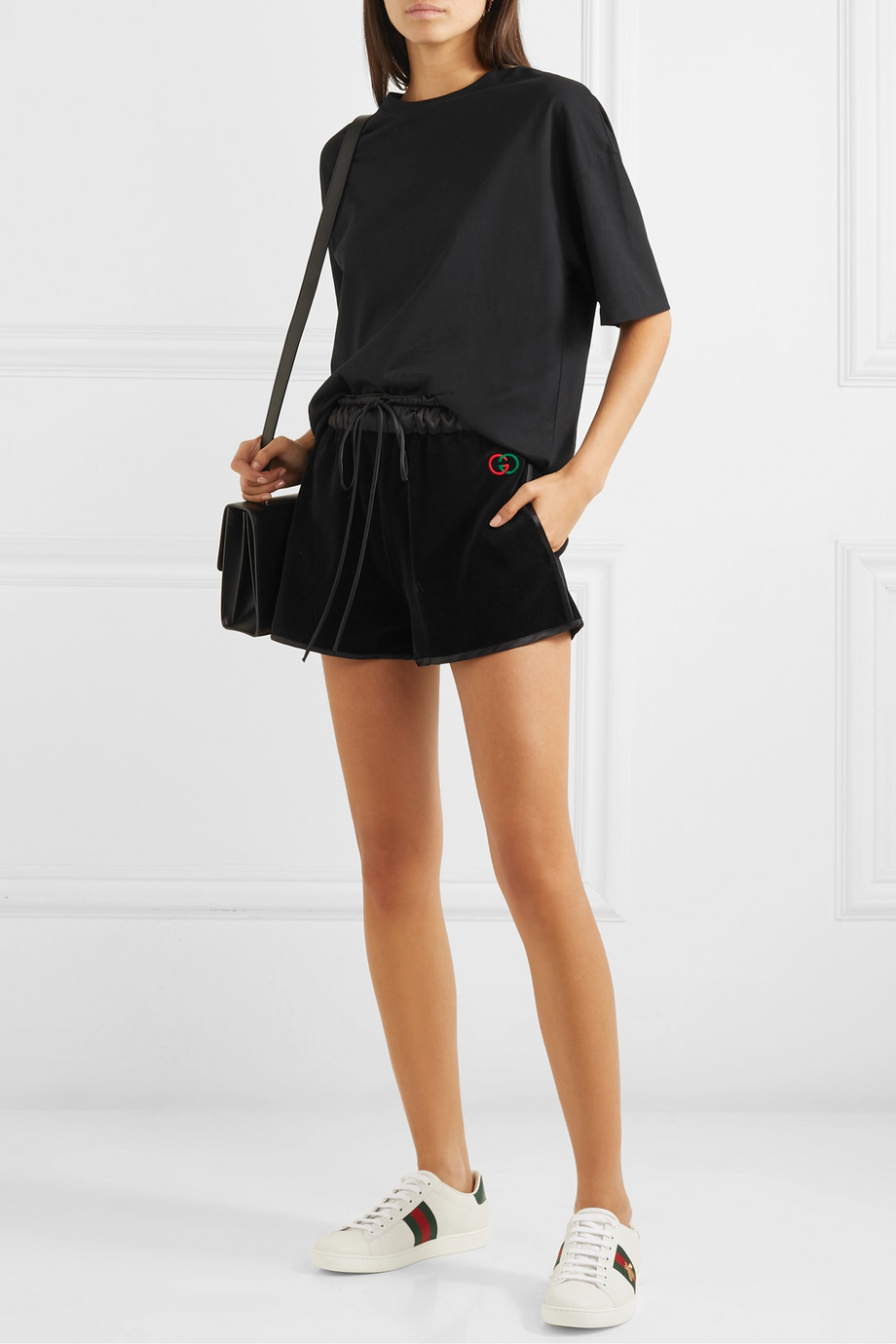Gucci Satin-trimmed cotton-blend velvet shorts
