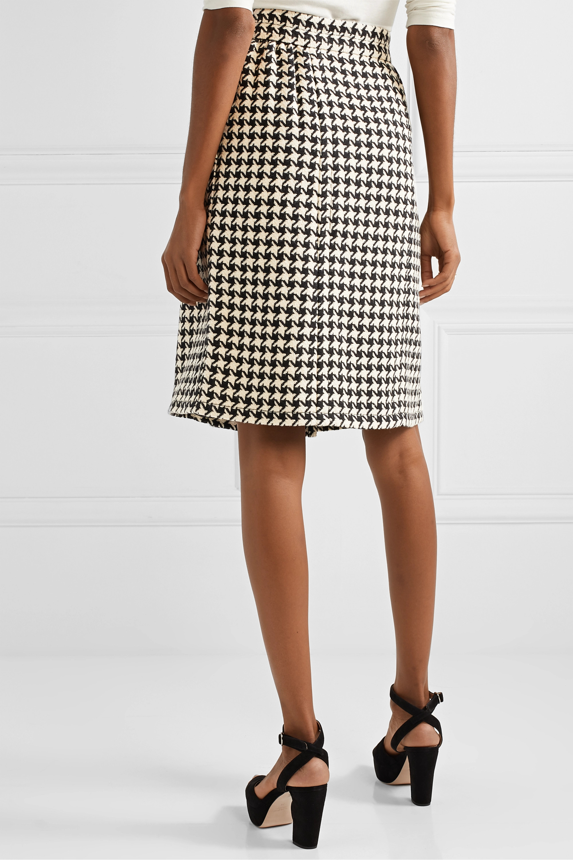 Gucci Houndstooth wool-blend tweed wrap skirt