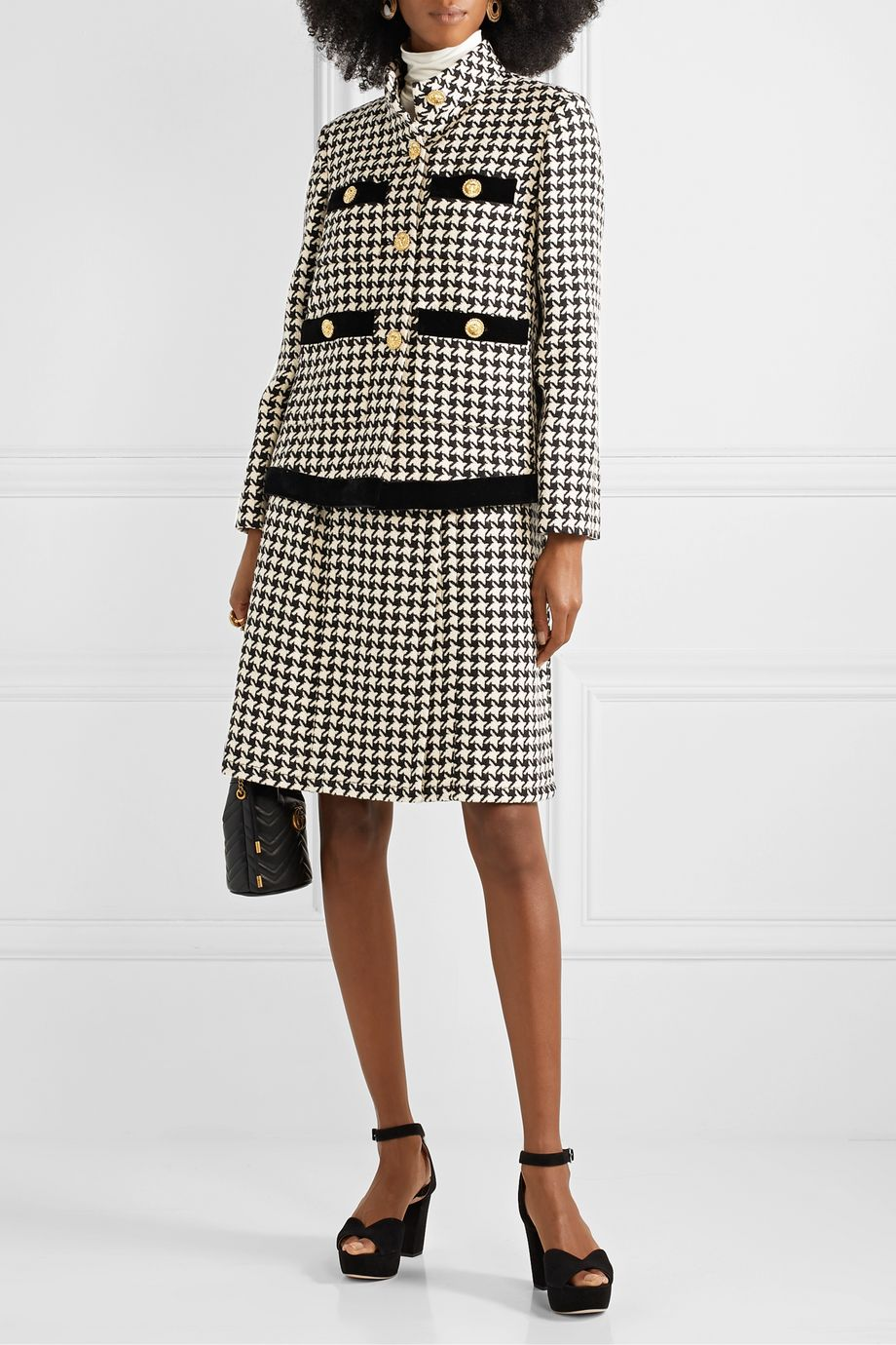 Gucci Houndstooth wool-blend tweed wrap skirt