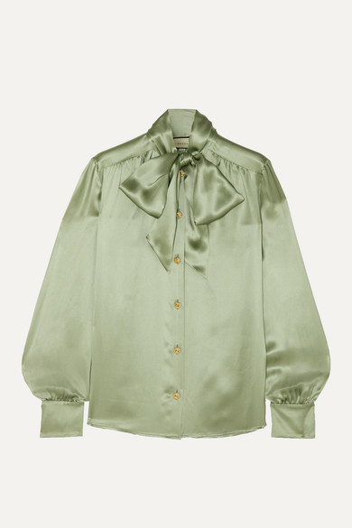 Pussy Bow Silk Blend Satin Blouse by Gucci