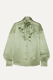 Gucci Pussy-bow silk-blend satin blouse