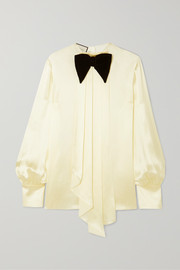 Bow-detailed draped silk-blend satin blouse