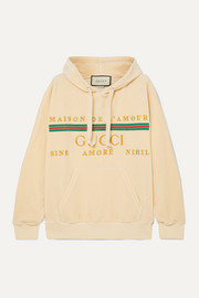 Gucci Oversized embroidered cotton-blend velour hoodie