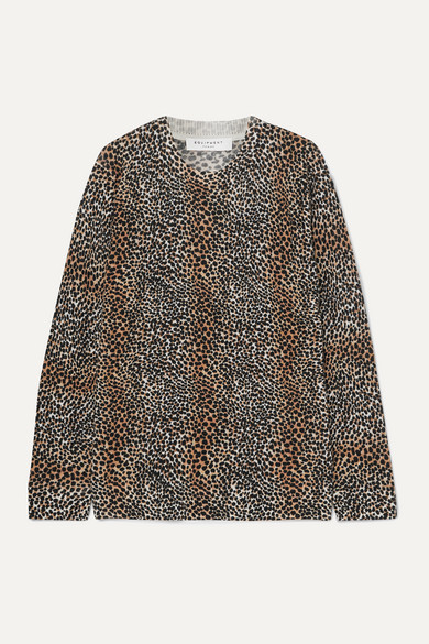 Equipment Raydon Leopard-print Wool Sweater In Brown