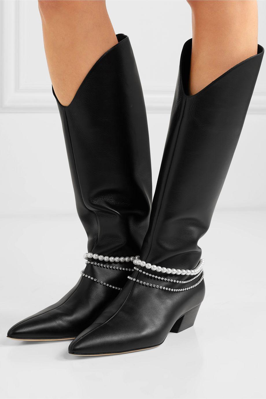 Magda Butrym Mexico 水晶人造珍珠缀饰皮革及膝长靴