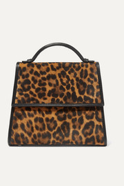 Small leather-trimmed leopard-print suede tote