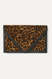 Hunting Season Envelope leather-trimmed leopard-print suede clutch
